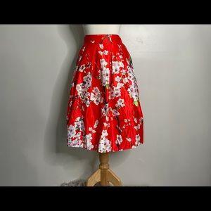 Red floral knee length skirt